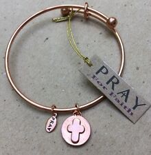 ✝✝ BANGLE BRACELET by PRAY for Faith  NEW Copper Color Cross Charm Religious