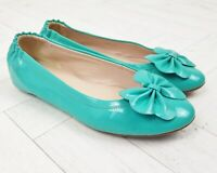 LK Bennett Poppy Turquoise Green Patent Leather Bow Flat Shoes Size 39 UK 6