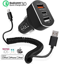 8.4Amp Fast Car Charger w/Extra MFI Lightning Cord iPhone X 5 6 6s 6+ 6s+ 7 8+