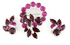 Vintage Eisenberg Red & Pink Rhinestone Brooch & Earrings