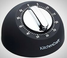 KitchenCraft Soft-Touch Mechanical 1-Hour Kitchen Timer Black Home Indoor New
