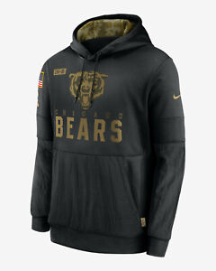 NIKE THERMA NFL CHICAGO BEARS SALUTE TO SERVICE BLACK HOODIE MEN'S SIZE LARGE