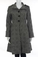 Tibi Black White Print Button Down Coat Size 2