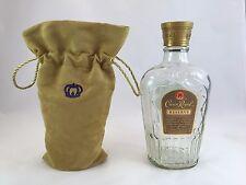 Crown Royal Reserve empty whisky 750 mL Bottle with velvet felt Bag Canadian 1/5