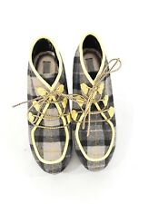Rachel Roy 9 Platform Wedges Gray & Yellow Plaid Flannel Lace-Up