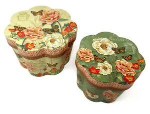 Set of 2 Punch Studio Fluted Round Nesting Boxes Botanical Bouquet 66491 med lrg