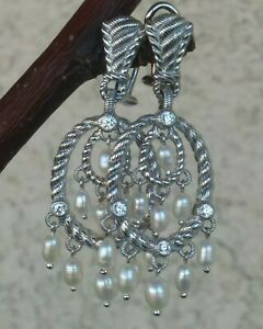 Judith Ripka Sterling Silver Pearl Chandelier Earrings With Diamonique Sterling