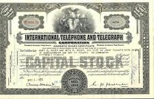 Stock certificate International Telephone & Telegraph Corp. + 3 stamps 1953