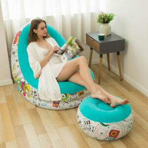 Inflatable Bean Bag Large Couch Chair Sofa Lazy Lounger Home Comfy With Footrest