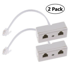 2Pc Telephone Phone Splitter 2 Way Converter Cable RJ11 6P4C Plug Adapter Socket