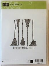 Stampin Up IF THE BROOM FITS Wood Mount Stamp Halloween witch broom