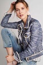 NWT!!!  Anthropologie Pilcro Tweed Trucker Jacket Blue/Cream Size XS
