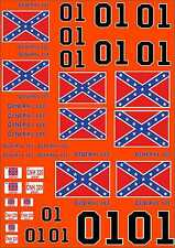 1-18 Scale Model Duke Of Hazard General Lee Style Exterior Vinyl Decals A4 Sheet