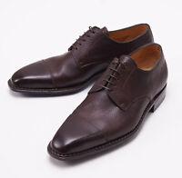 NIB $1050 SUTOR MANTELLASSI Dark Brown Soft Grained Leather Captoe Shoes US 6 D