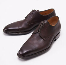 NIB $1050 SUTOR MANTELLASSI Dark Brown Soft Grained Leather Captoe Shoes US 6 D