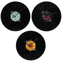 """Schwarze Glas-Wanduhr Wall Clock """"Schallplatte"""" Ø ca. 35cm in drei Retro-Designs"""
