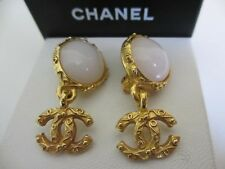 Authentic CHANEL CC clips  dangling earrings (white stone)
