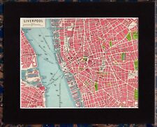Antique MAP ~ LIVERPOOL Street Plan ENGLAND UK ~ 1920 MOUNTED 90+ Years Old