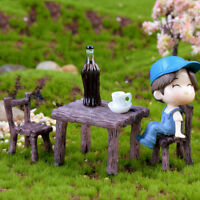 3x/set Table Chair Craft Mini Miniature Figurine Garden Decor Mini Landscape YA
