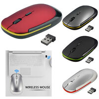 Ultra-Thin 2.4GHz Wireless 1600 DPI Adjustable Rechargeable Mouse for Laptop PC