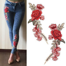 Rose Flower Embroidered Sew Iron On Patches Badge Jeans Dress Collar Applique