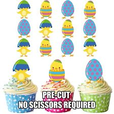PRECUT Easter Cupcake Topper Cake Decorations Chicks & Eggs (pack of 12)