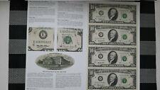 "Uncut sheet of 4 - Ten  ( 10) Dollars US bills series 1995 ""Star Note"""