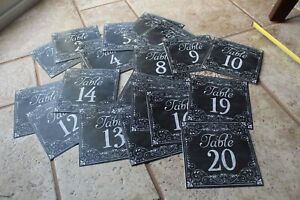 """SET OF # 1-20 CHALKBOARD-LOOK PAPER TABLE TENT NUMBERS CARDS 5"""" SQUARE"""