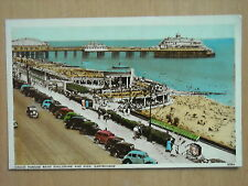 OLD COLOUR TINTED POSTCARD - GRAND PARADE BAND ENCLOSURE AND PIER, EASTBOURNE