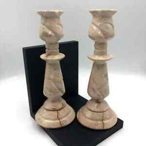 Pink Marble Candle Holders Set of Two
