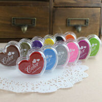 12 Colors Heart Stamps Pigment Ink Pad For Paper Wood Fabric Scrapbook Craft