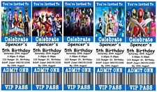 POWER RANGERS Personalised Ticket Style Birthday Invitations