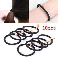 10pcs couleurs noires corde élastiques cravates cheveux 4mm épais bandeaux  ~Bfw