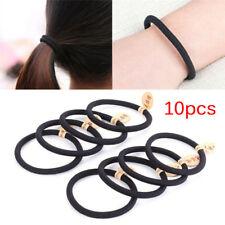 10x Black Colors Rope Elastics Hair Ties 4mm Thick Hairbands Girl's Hair Band _C