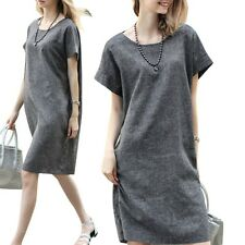 Women Linen Short Sleeve Cotton Dress Casual Loose Party Evening Beach Dress AU