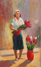 1984 Impressionist oil painting portrait woman with flowers signed