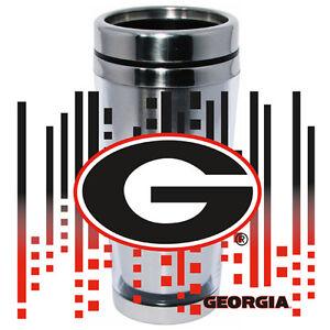 Georgia Bulldogs Logo Travel Mug Tumbler Stainless Steel NEW Clear Insert