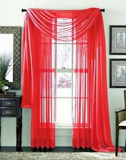 3 Piece Sheer Voile Curtain Panel Drape Set Includes 2 Panels and 1 Scarf