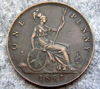 GREAT BRITAIN QUEEN VICTORIA 1891 ONE PENNY, BETTER GRADE