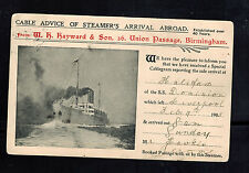1905 England Hms Dominion Ship Postcard Cover Arrival Notice Cable