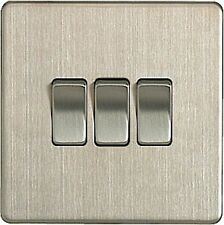 British General Decorative Screwless FBS43 Stainless Steel Light Switch 3 Gang 2 Way