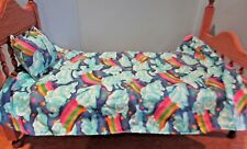 """Quilt 18"""" doll pillow/comforter blanket for american girl other Blue Clouds"""