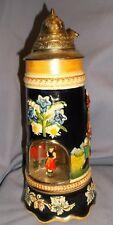 "Vintage W. Germany Werner Corzelius Musical Lidded Stein w/Dancing Lady 11 1/4"""