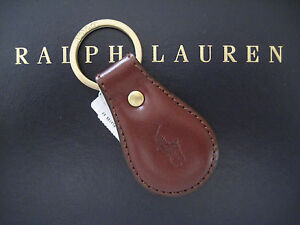 Polo RALPH LAUREN Brown Saddle Leather Pony FOB Key Chain Keychain Keyring