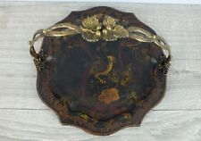 Antique 1800s Toleware Biscuit Tray Chippendale style w Ornate Brass Handle