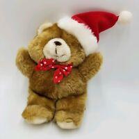 "zzwd Honey brown tan Christmas HOLIDAY BEAR Santa Claus Hat Plush Teddy 4/"" Ganz"
