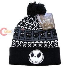 Nightmare Before Christmas Jack Beanie Intarsia Cuff Pom Beanie Cap Knitted Hat