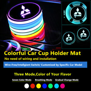 2pcs Colorful LED Coaster Atmosphere Car Light Bulbs For Mitsubishi Neon Lights