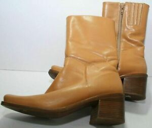 Sam & Libby Streak Heeled Ankle Boots Womens Size 7.5 M Tan Brazilian Leather
