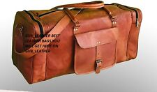 "30"" Genuine Leather Very Large Vintage Duffel Travel Gym Weekend Overnight Bag"